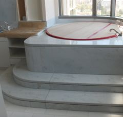 "Jacuzzi Tub Surround and Round Steps with 1/2"" reveal, by Carpet Floor & More"