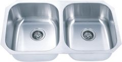 50/50 Undermount Stainless Steel Kitchen Sink, with Two Equal Bowls