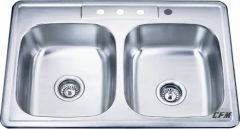 Double equal self-rimming kitchen sink with four-hole faucet punching