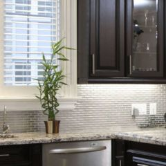 Silver Metal Brick Pattern Backsplash Room Scene